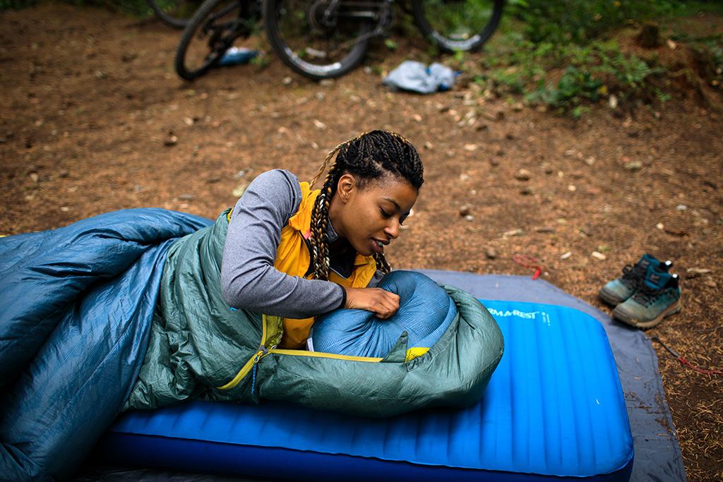 sleeping pad sleeping bag and camping pillow
