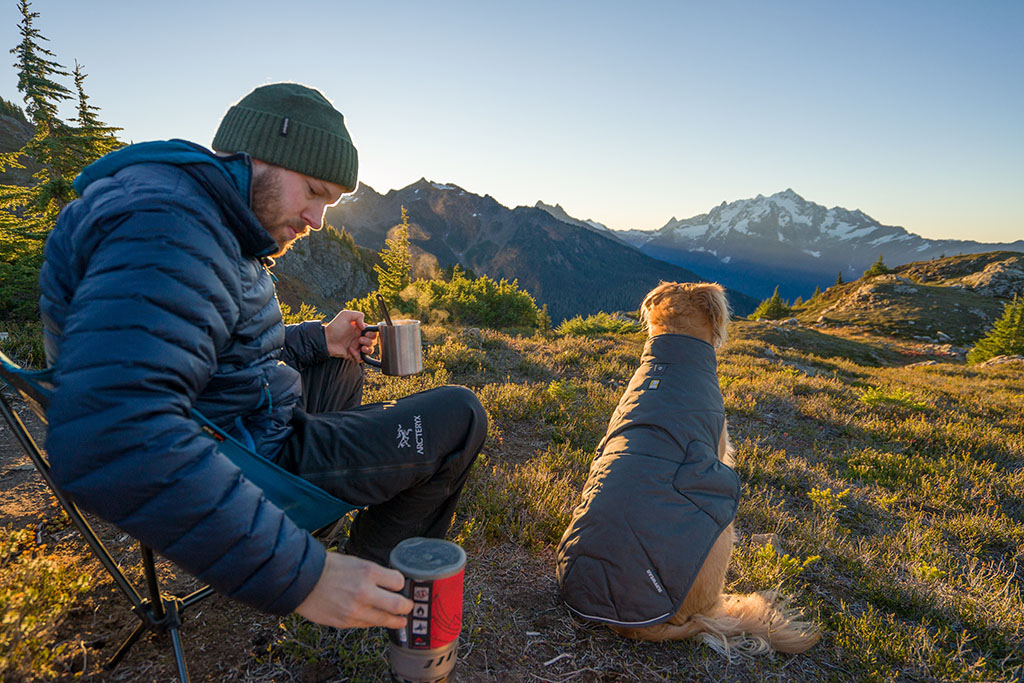 backpacking stove with dog