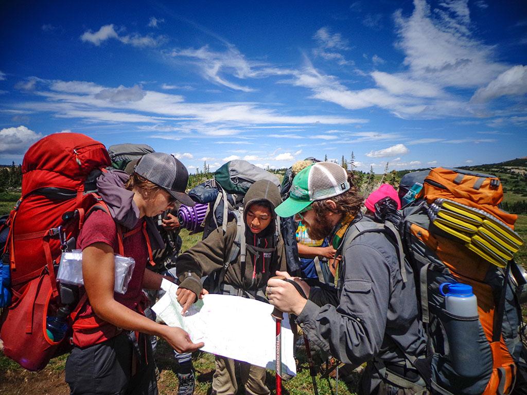 non profit volunteers on hiking trip