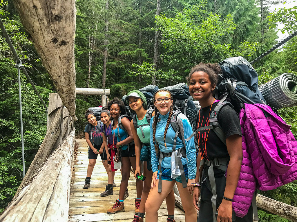 young girls on hiking trip