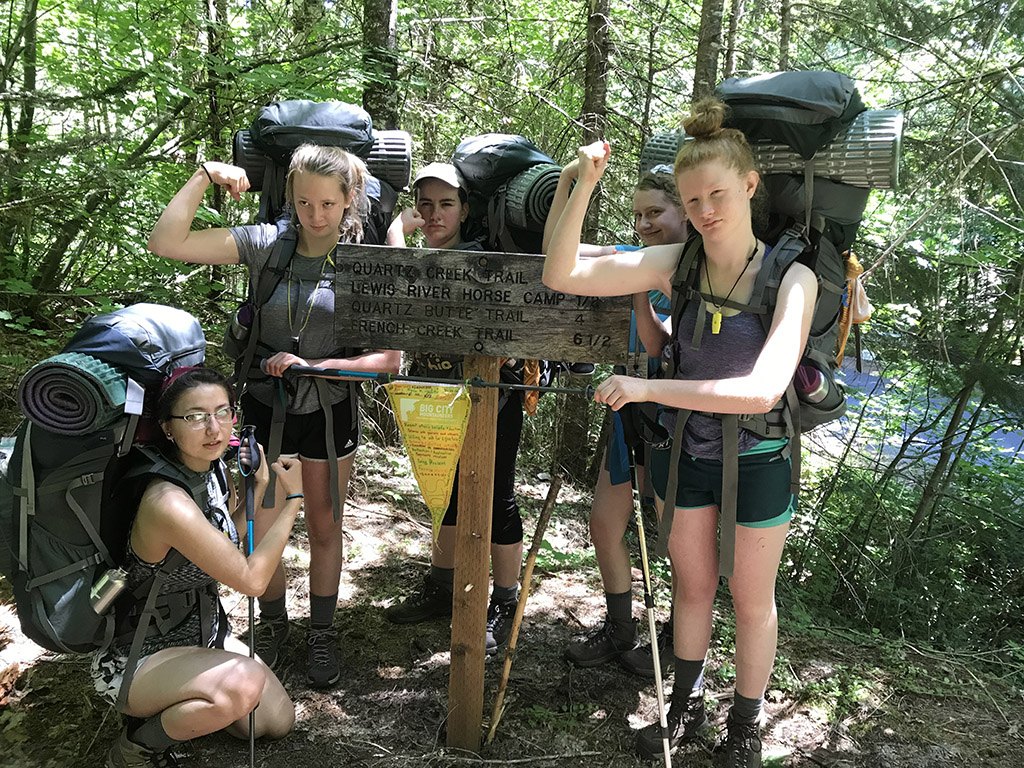 girls on backpacking trip