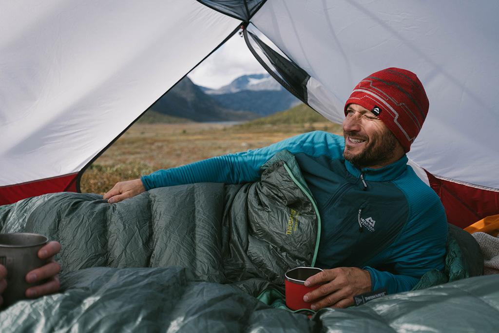 questar sleeping bag in tent