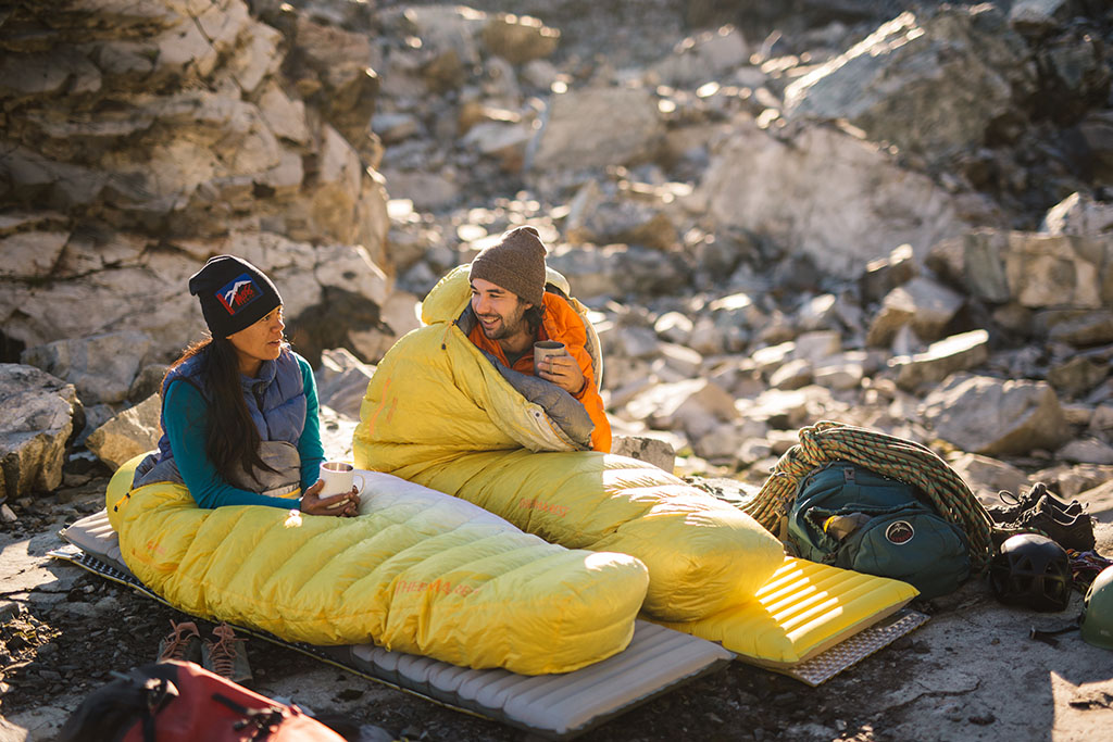 waking up in sleeping bags on sleeping pads
