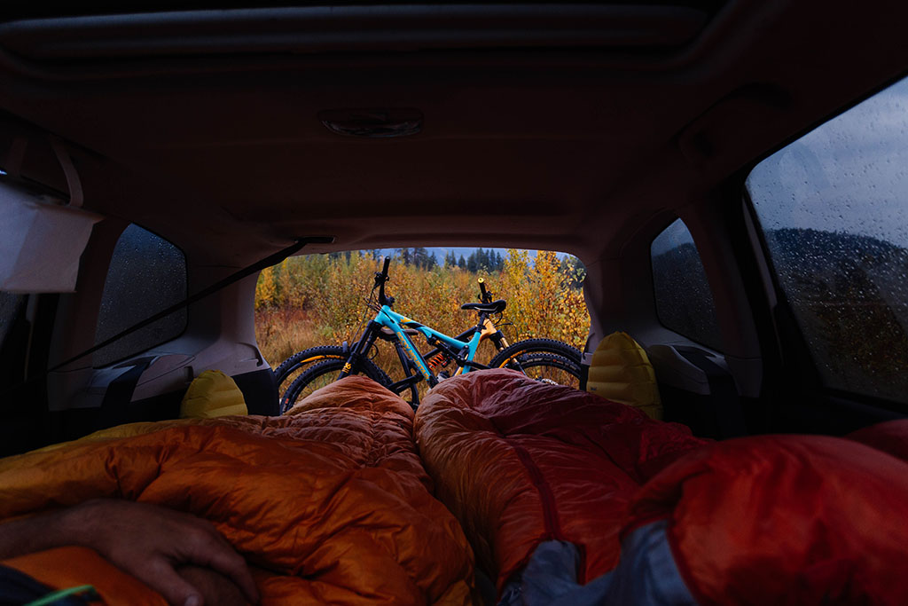 car camping with sleeping bags
