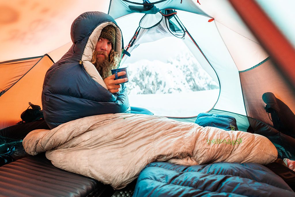 sitting in tent in hyperion sleeping bag