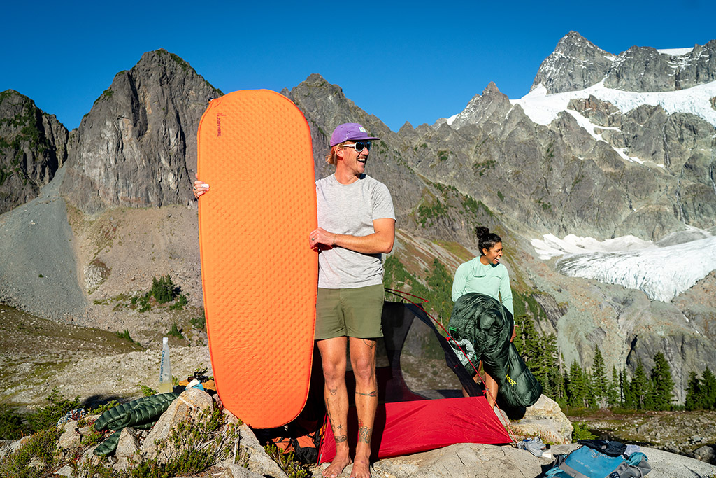 standing with self inflating sleeping pad