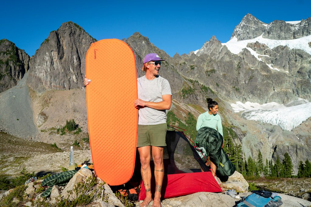 Thermarest self inflating sleeping pad on backpacking trip