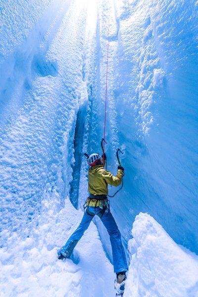 ice climbing in winter