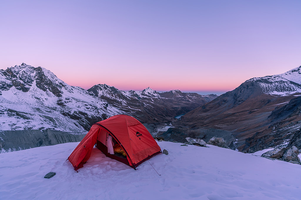 winter camping in MSR tent