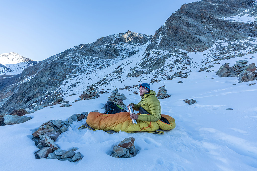 sitting in cold weather sleeping bag