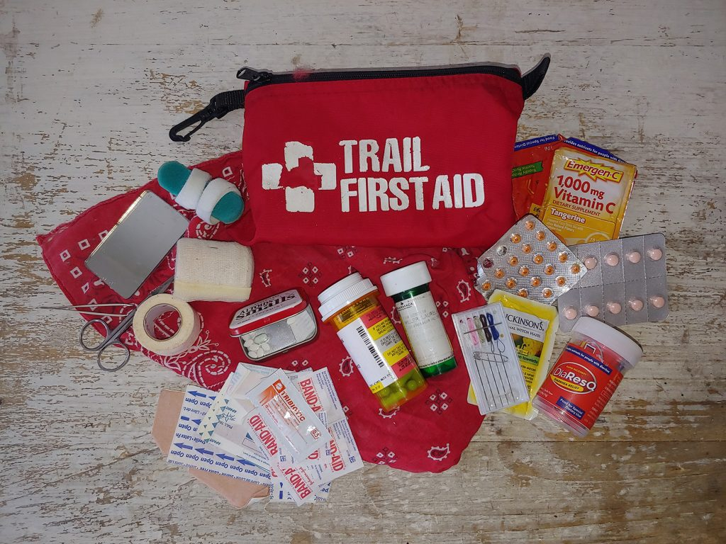 backpacking and hiking first aid kit