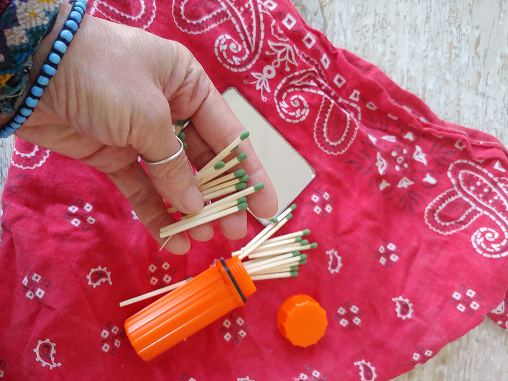 matches in backpacking and hiking first aid kit
