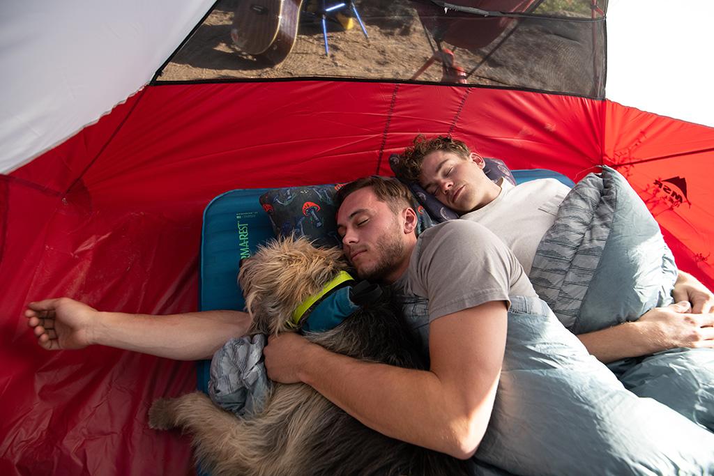 sleeping with dog on sleeping pad