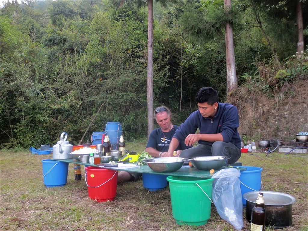 safely preparing food on whitewater rafting trip