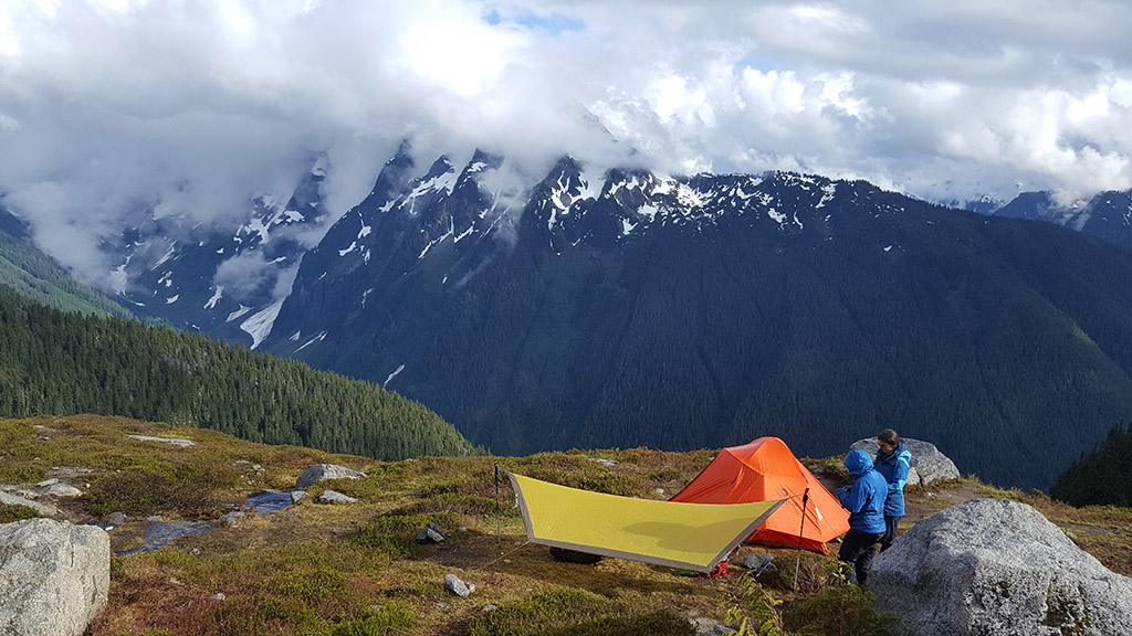 setting up camp in the alpine