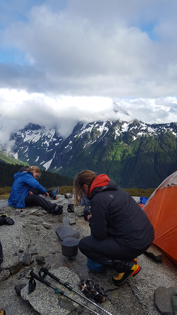 alpine climbing setting up camp
