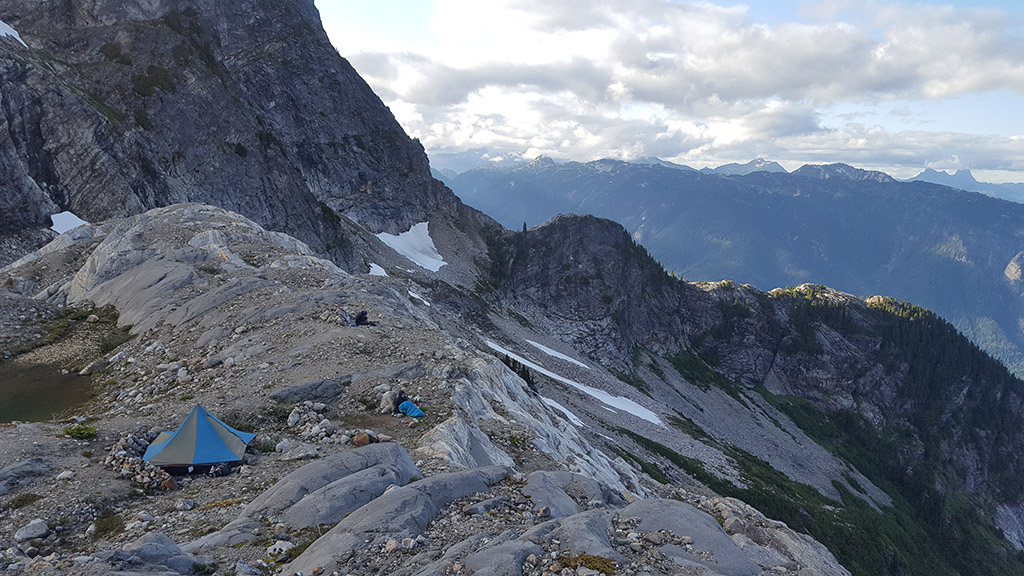 view of camp on climb