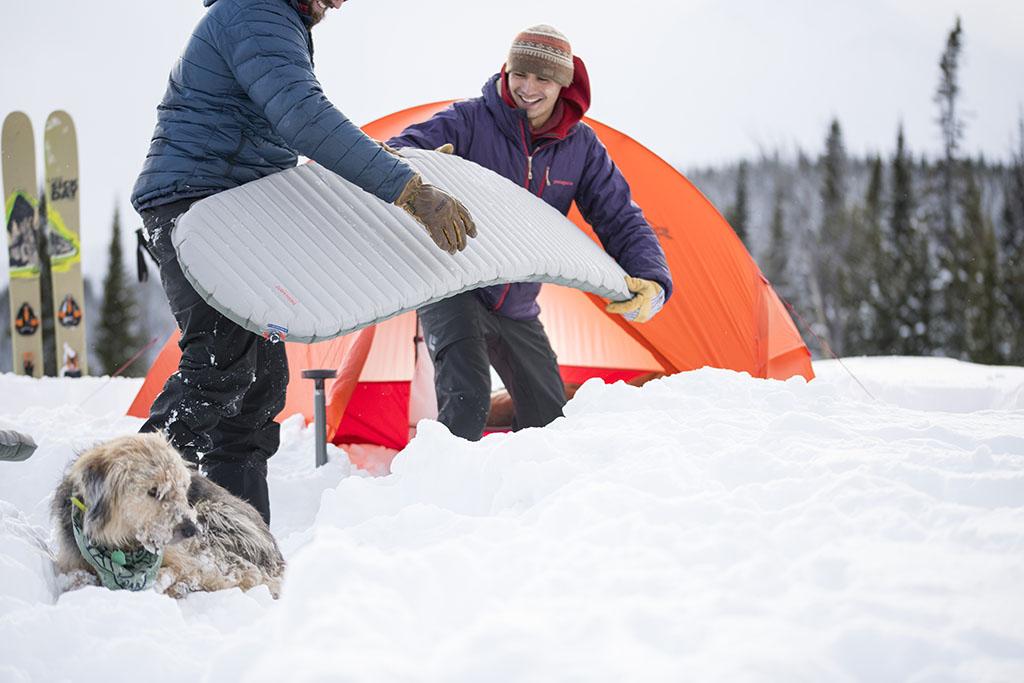 sleeping pad in snow