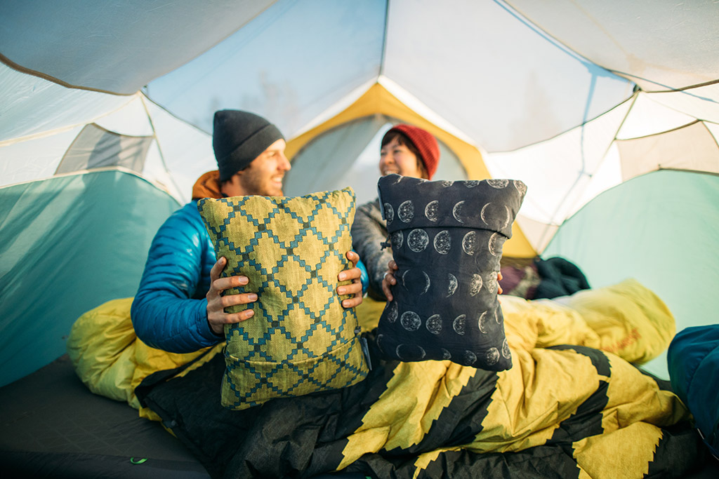 compressible pillows in camping tent