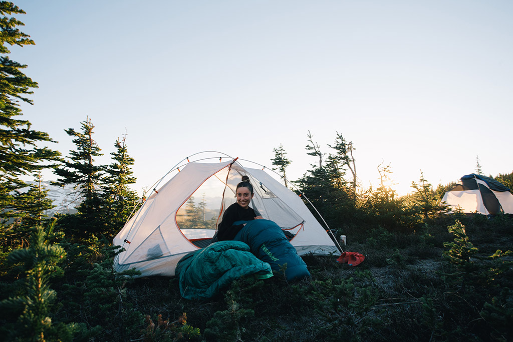car camping in tent