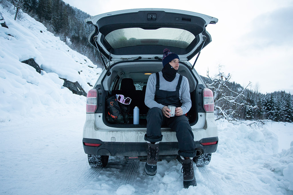 car camping in the snow