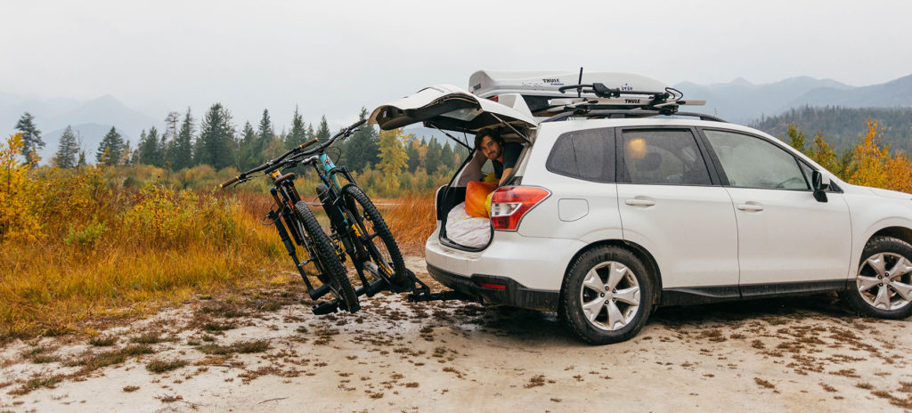 car camping with bikes