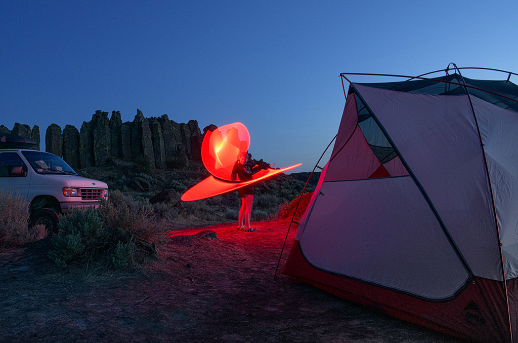 dispersed camping at night