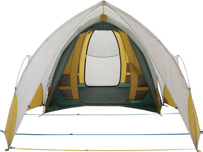 Arrowspace Shelter, attached to Tranquility 6 Tent, front view