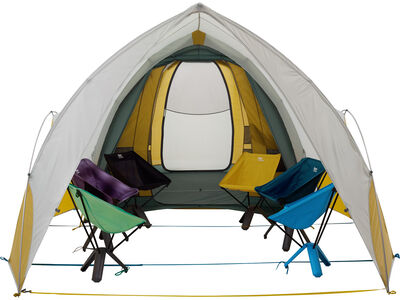 Arrowspace Shelter, attached to Tranquility 6 Tent, front view with chairs